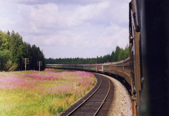 зеленый поезд виляя задом...