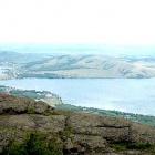 Вид с хребта Крыктытау на озера Банное, Чебачье, Ташбулатово
