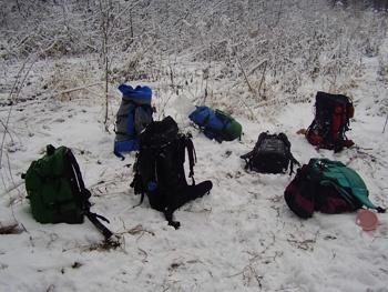 рюкзаки на привале